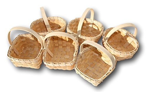 (Small Flower Girl Woodchip Country Basket - Set of 6 Styles (6 x6 Inches))