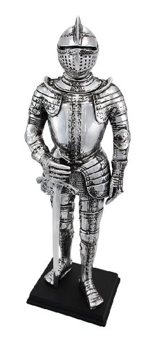 Silver Finish Medieval Knight In Armor Statue Figure (Knight In Armour)
