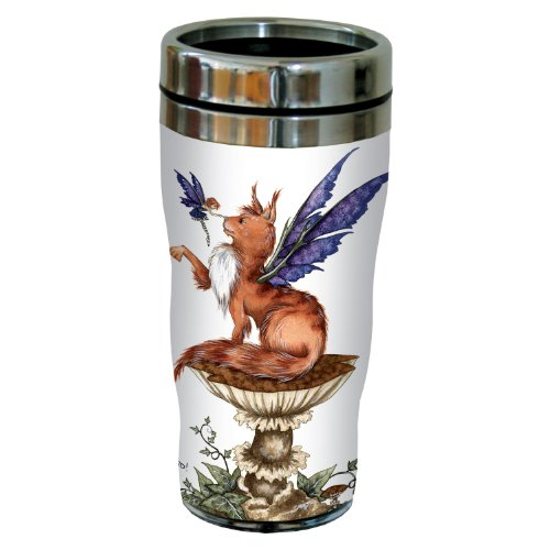Amy Brown Fantasy Art - Tree-Free Greetings sg23610 Fantasy be Good Cat and Fairy by Amy Brown, Sip 'N Go Stainless Steel Travel Tumbler, 16-Ounce, Multicolored