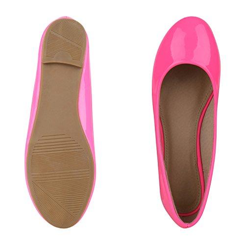 napoli-fashion Klassische Damen Ballerinas Glitzer Schuhe Flats Lackleder-Optik Slippers Ballerina Schuhe Schleifen Freizeitschuhe Jennika Neonpink Nude