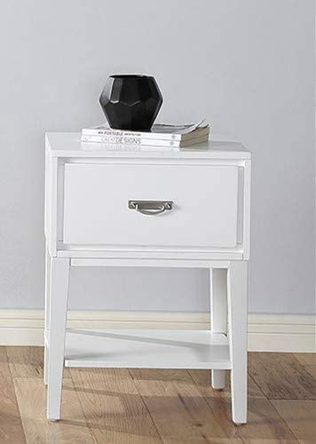 GTU Furniture Rectangle 1 Drawer Wood Accent Storage Nightstand/Side Table/End Table White