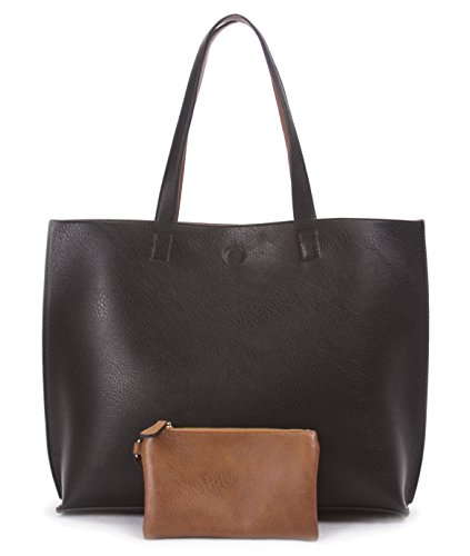 Overbrooke Reversible Tote Bag, Black & Tan - Vegan Leather Womens Shoulder Tote with Wristlet (Black Leather Bag)