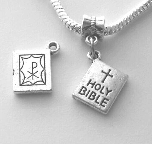 Holy Bible Catholic Christian European Dangle Bead Charm - for Bracelet or Pendant -