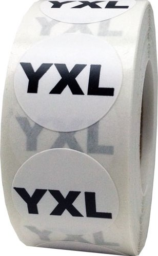 White Round Clothing Size Stickers YXL - Youth Extra Large Adhesive Labels for Apparel Retail - 500 Total