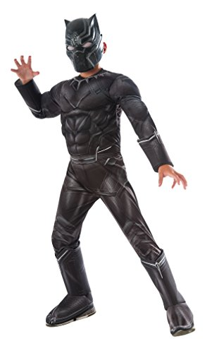Boys Superhero Costume Captain America Black Panther Kids Costume (Large Image)