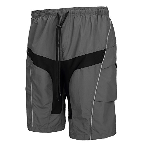 Santic Men's 4D Padded Cycling Shorts Loose Mountain Bike Shorts Grey
