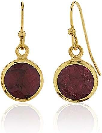 18K Gold-Plated Brass Rims Circle Gemstone Dangle Earrings