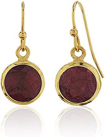 18K Gold-Plated Brass Rims Circle Gemstone Dangle Earrings