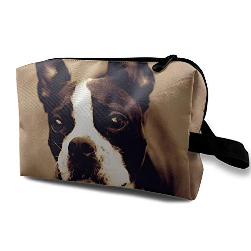 Aaron Hendricks Skincare Portable My First Pets Boston Terrier Storage Bags Toiletry Bag with Zipper for Women Skincare Cosmetic ()