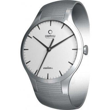 Obaku Women's V100LCCMC Silver Stainless-Steel Quartz Watch with White Dial