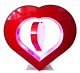 WOODLEV 5'' Heart Shaped Magnetic Levitation Floating Photo Frame Rotating Photo for Children Gift Home Office Desk Decoration, by