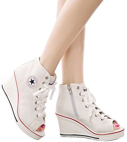 Fashion Sneaker Shoes white Heeled Canvas Jiye F Pump High Womens IORAXxf