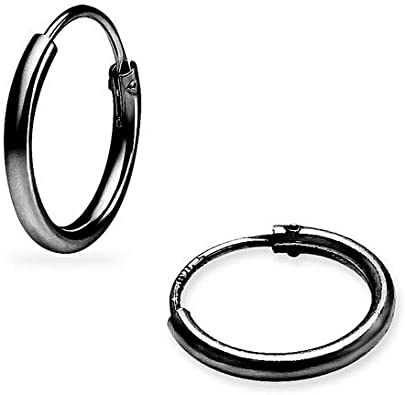 925 Sterling Silver Rhodium-plated Polished Round Hoop Earrings 2mm x 14mm