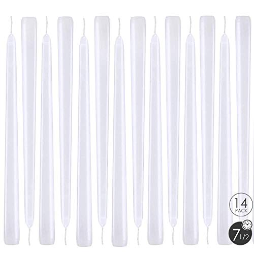 XYUT Elegant Taper Candles 10 Inches Tall Premium Quality Candles Set of 14 (White) ()
