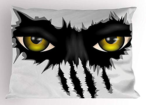 K0k2t0 Eye Pillow Sham, Evil Eyes of Wild Black Cat Staring Face Werewolf Animal Monster Scratch Danger, Decorative Standard Queen Size Printed Pillowcase, 30 X 20 inches, Yellow Black Grey -