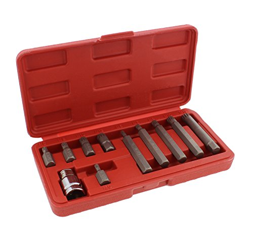 - ABN XZN Triple Square Spline 11-Piece Metric Drill Bit Set - M5 - M12 Bits & 10mm Hex Bit Adapter Shank CRV Steel Metal