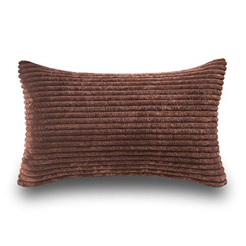 Home Brilliant Plush Striped Corduroy Velvet Rectangular Throw Pillow Case Cushion Cover for Chair, 30 x 50cm, Coffee Brown (Pillows Rectangular)