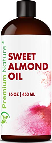 Sweet Almond Oil Carrier Oil - Cold Pressed Pure Natural Body Massage Oils for Essential Oils Mixing, Baby Oil Dry Skin Face Moisturizer Eye Makeup Remover Healthy Nails Cleansing Properties 16 oz (Homemade Eye Makeup Remover With Essential Oils)