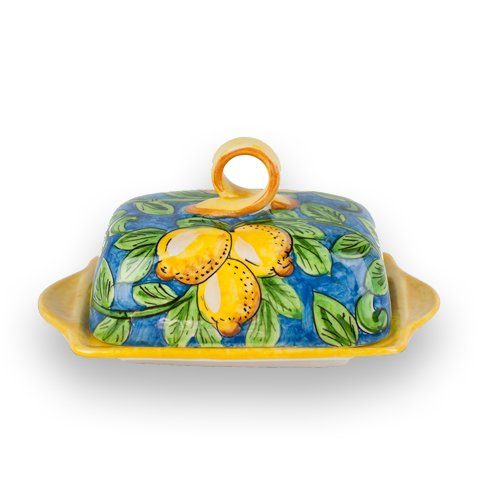 Hand Painted Limone Butter Dish From Italy