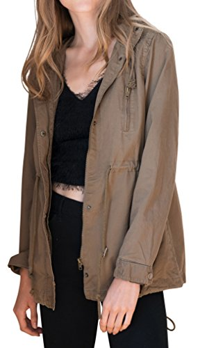 Ragstock Women's Canvas Twill Military Anorak Jacket (Large, (Embroidered Anorak Jacket)