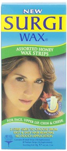 Surgi-wax Surgi-wax Assorted Maple Honey Wax Strips For Face Upper Lip, Chin & Cheek, 16 ()