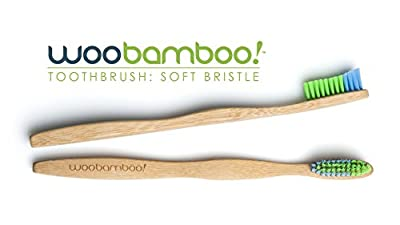 WooBamboo Toothbrush 4 Pack (2 Standard Handle & 2 Slim Handle with Soft Bristles)