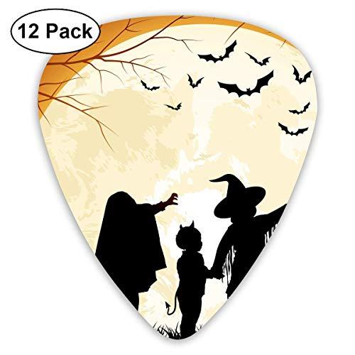 - Custom Guitar Picks, Halloween Fall Silhouette Camping Lawn Black Guitar Pick,Jewelry Gift For Guitar Lover,12 Pack