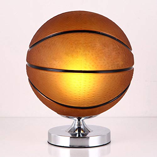 Basketball Football Table Lamps Bedroom Desk Lights Children Creative Boy Room Lamp Single Head Glass Lighting Study Living Room Home Decoration Dimming Switch (Edition : A)