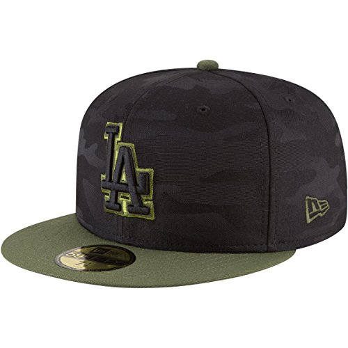 New Era Los Angeles Dodgers 2018 Memorial Day On-Field 59FIFTY Fitted Hat – Black/Olive (7) ()