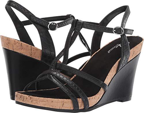 Aerosoles A2 Women's Plushed Nickel Wedge Sandal Black Snake 8 M US
