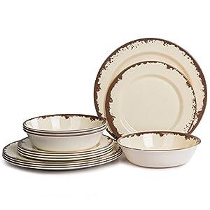 Melamine Dinnerware Set – Yinshine 12 Pcs plates set 41I2 2BBjmAqL