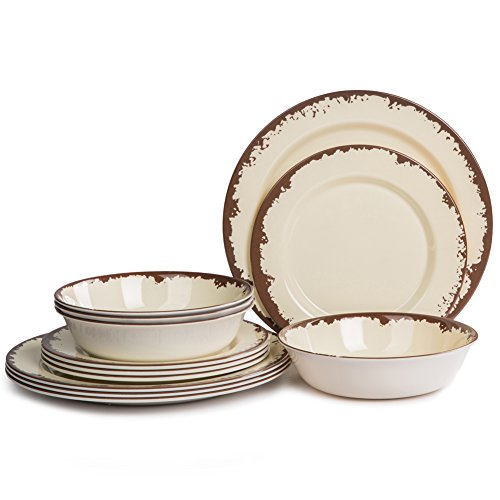 Set Piece Camping 12 (Dinnerware Set for 4 - Melamine 12 Piece Dinner Dishes Set for Camping Use, Lightweight, Dishwasher Safe)