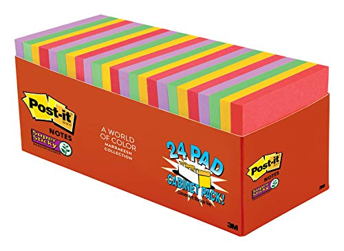 Post-it Super Sticky Notes, 2x Sticking Power, 3 in x 3 in, Marrakesh Collection, 24 Pads/Pack, 70 Sheets/Pad, Cabinet Pack (654-24SSAN-CP) for $<!--$19.73-->