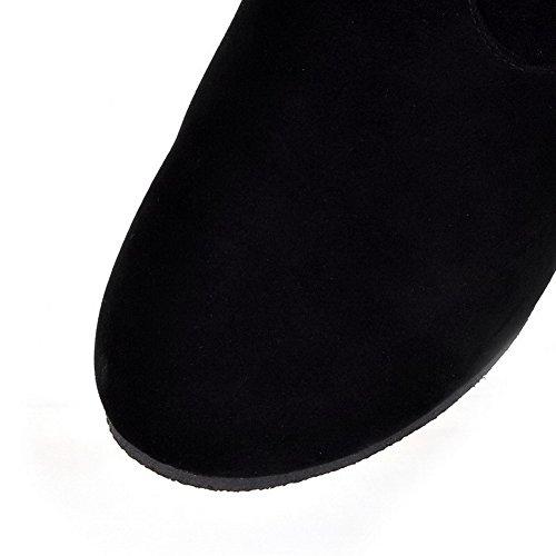 AllhqFashion Mujeres Puntera Redonda Caña Alta Mini Tacón Sólido Gamuza(Imitado) Botas Negro