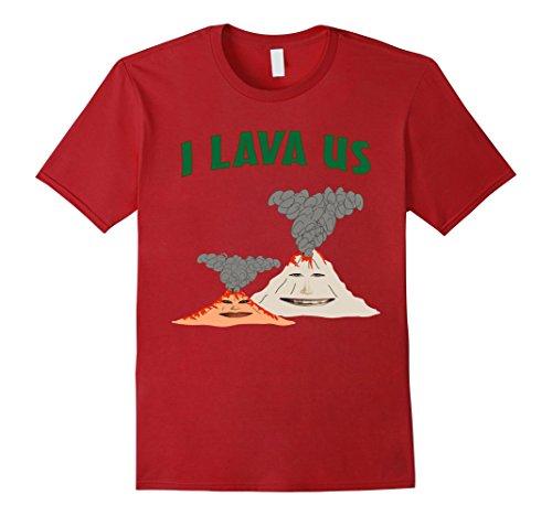 Mens I Lava Us Funny Anniversary T-Shirts 2XL Cranberry