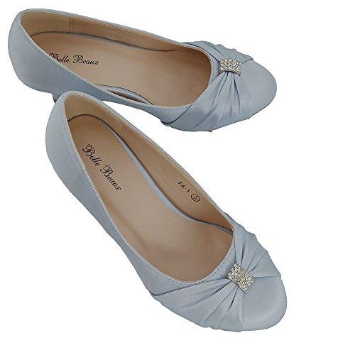 ESSEX GLAM Mujer Nupcial Diamante Satín Tacón Bajo Boda Zapato Plata Satín