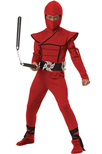 [Mememall Fashion Japanese Stealth Ninja Child Halloween Costume (Red/Black)] (Child Blue Stealth Ninja Costumes)