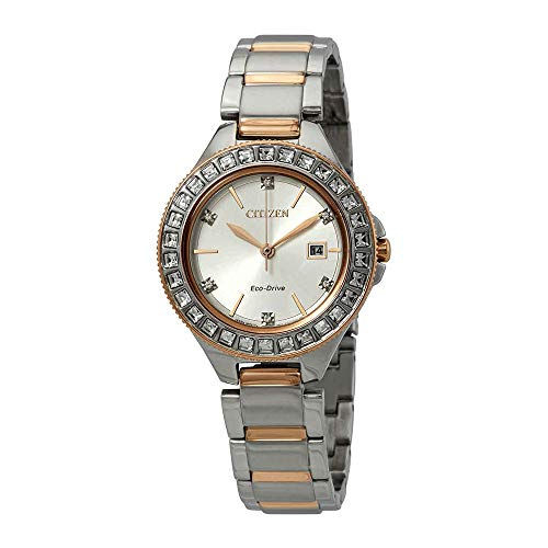 Ladies' Citizen Eco-Drive Silhouette Two-Tone Crystal Bracelet Watch FE1196-57A