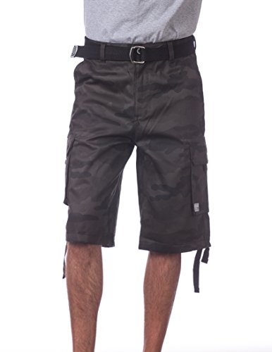 (Pro Club Men's Cotton Twill Cargo Shorts with Belt, 34