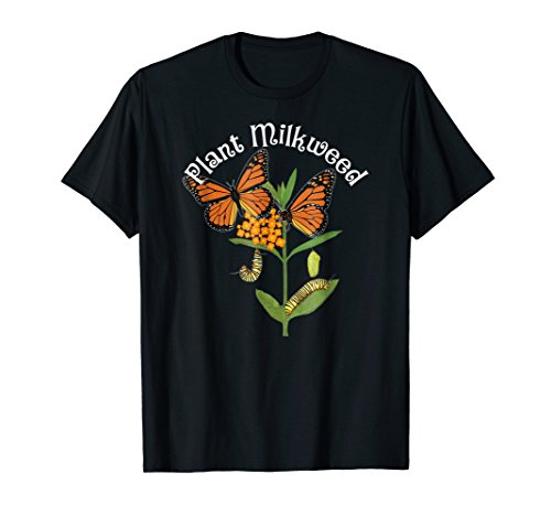 Plant Milkweed T-Shirt Monarch Butterfly Tee Caterpillar Tee