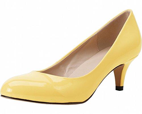 Kitten Pumps Frauen Ferse Mitte gelb Kleid zeigen Patent geschlossene PU auf Zehe qw1aBU