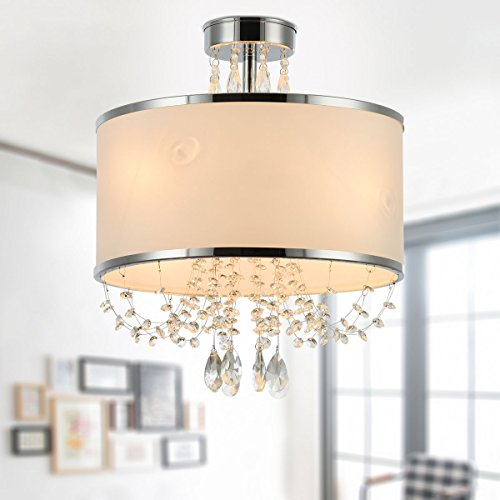 (DP-HomeTextiles 4-Light Modern Crystal Iron Chandelier with Fabric Shade (DK-C-RL7938-4))