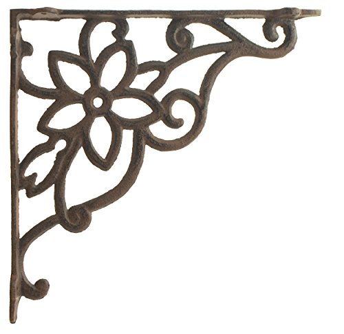 (Import Wholesales Cast Iron Wall Shelf Bracket Vine & Flower Rust Brown 9.625