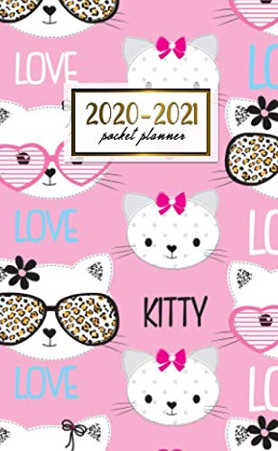 2020-2021 Pocket Planner: 2 Year Pocket Monthly Organizer & Calendar | Cute Two-Year (24 months) Agenda With Phone Book, Password Log and Notebook | Cute Girly Kitten With Glasses Print (Glasses Kitten)