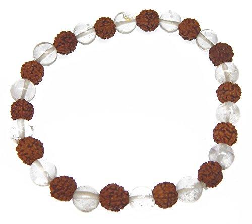 Myhealingworld Natural 7 Mm Rudraksha & Crystal Gemstone Stretchable Bracelet For Healing