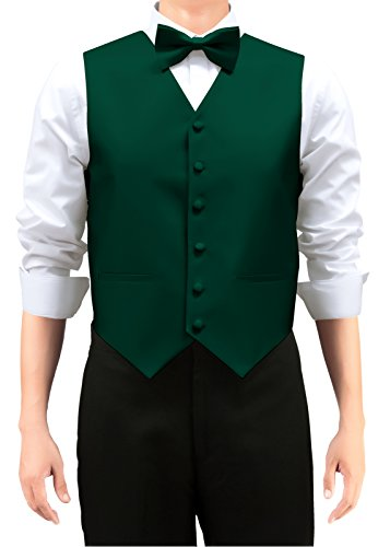 Retreez Men's Solid Color Woven Men's Suit Vest, Dress Vest Set with Matching Tie and Pre-Tied Bow Tie, 3 Pieces Gift Set as a, Birthday Gift - Dark Green, Large