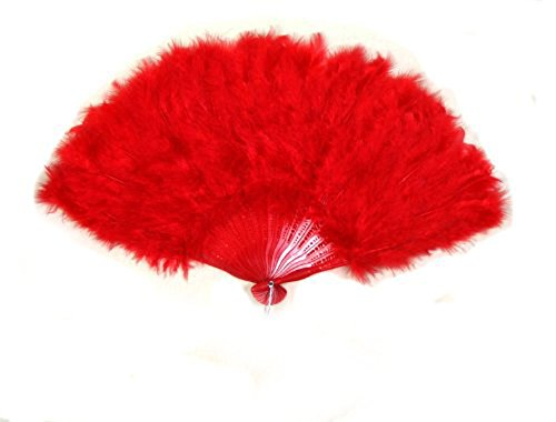 SACASUSA (TM) Large Red Feather Hand Fans NEW
