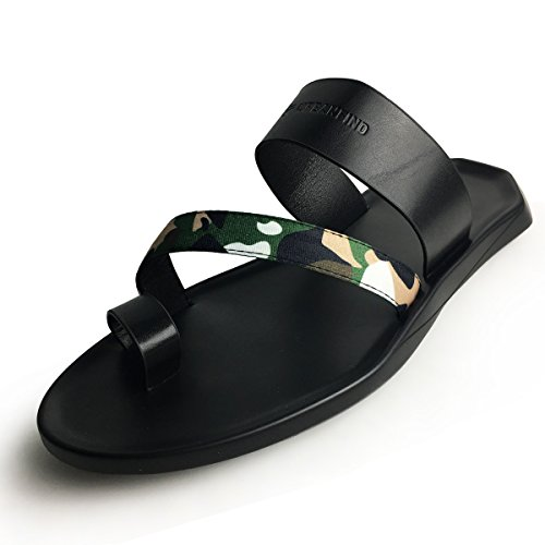 Leather Clog Sandals - URBANFIND Men's Mules Clogs Shoes Fashion Camouflage Vintage PU Leather Slides Sandals Camo Green, 9 D(M) US