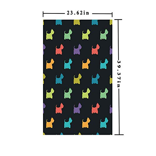 3D No Glue Static Decorative Privacy Window Films,Colorful Dog Silhouettes West Highland Terriers Canine Cartoon Style Animal Fun,W15.7xL63in,For Living Room Bathroom Kitchen Front Door with Multicol