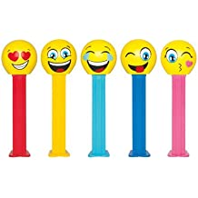 Emoji Pez Dispenser on Blister Card Packaging with 3 Rolls of Candy Refills (Happy Emoji with Yellow Stem)
